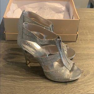 Shoes - Michael Kors Berkley T Strap Silver Heels